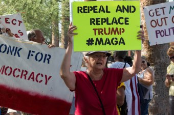 """""""I think DACA is important and these people should be allowed to stay. They are modern citizens, they just aren't citizens yet,"""" Sue Baird, 67, of Phoenix said following the repeal of DACA. (Photo by Tynin Fries/Cronkite News)"""