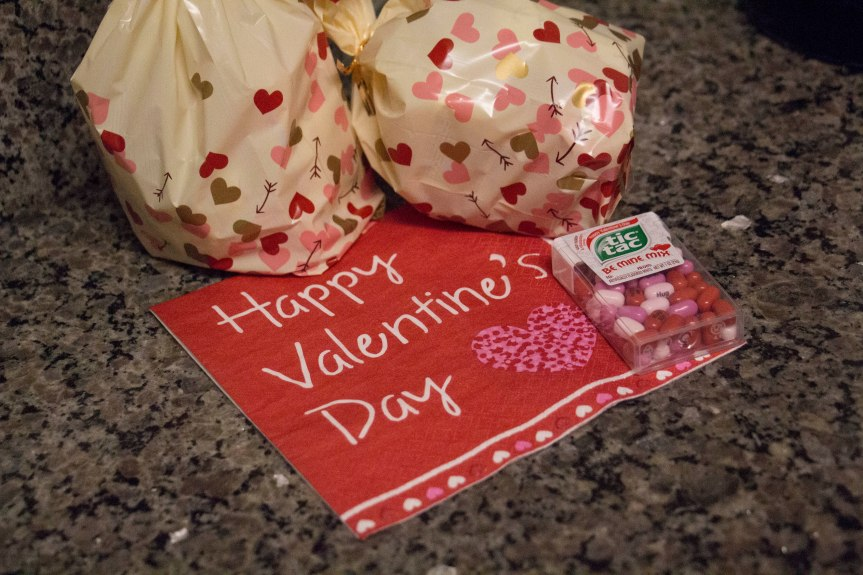 """Goodies bags"" to celebrate Valentine's Day on Tuesday, Feb. 14, 2017. (Photo by Tynin Fries)"