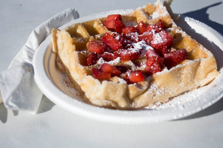A Belgium waffle from Top It Waffles at the open-air Phoenix Public Market on Saturday, Feb. 4, 2017. (Photo by Tynin Fries)